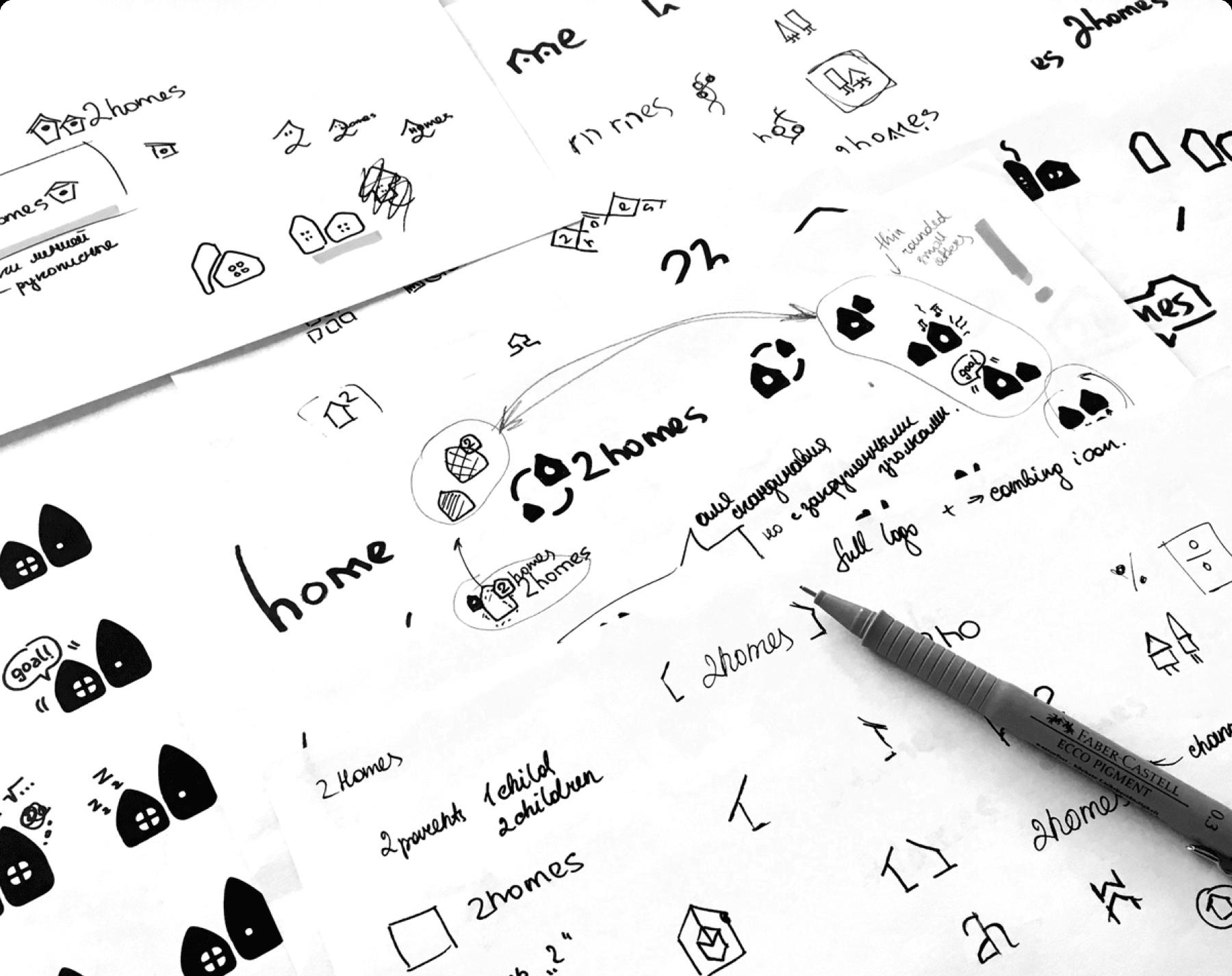 2homes branding logo sketches