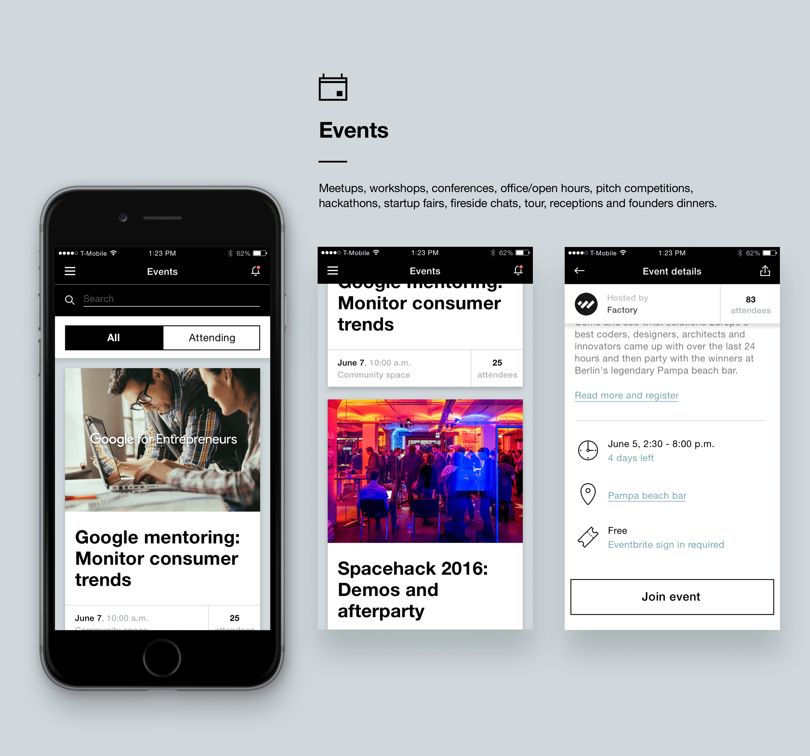 co-working branding and UI Nezhynska events app