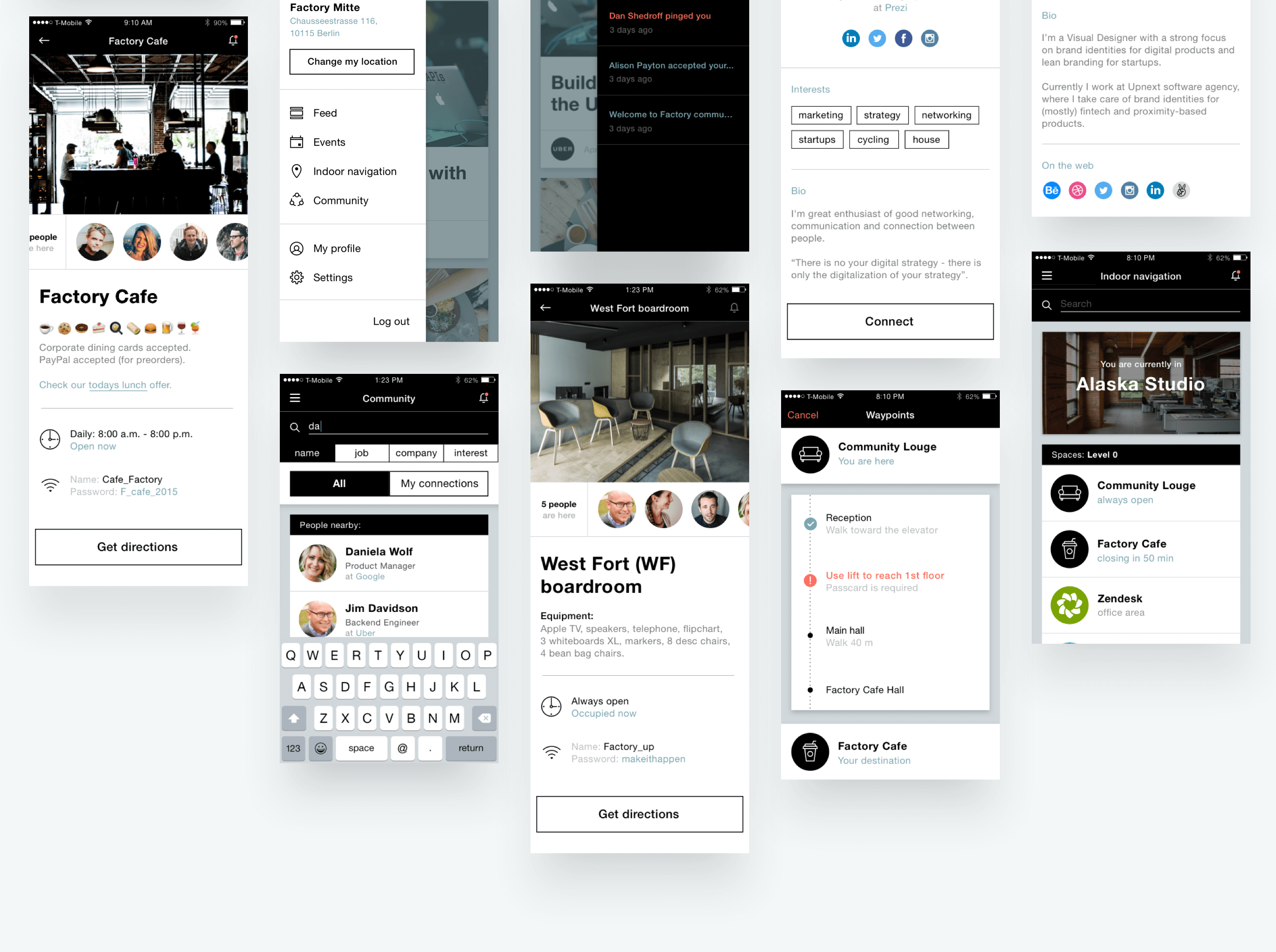 co-working space branding and UI Nezhynska app screens