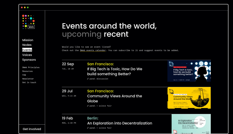 DWeb design Nezhynska events table