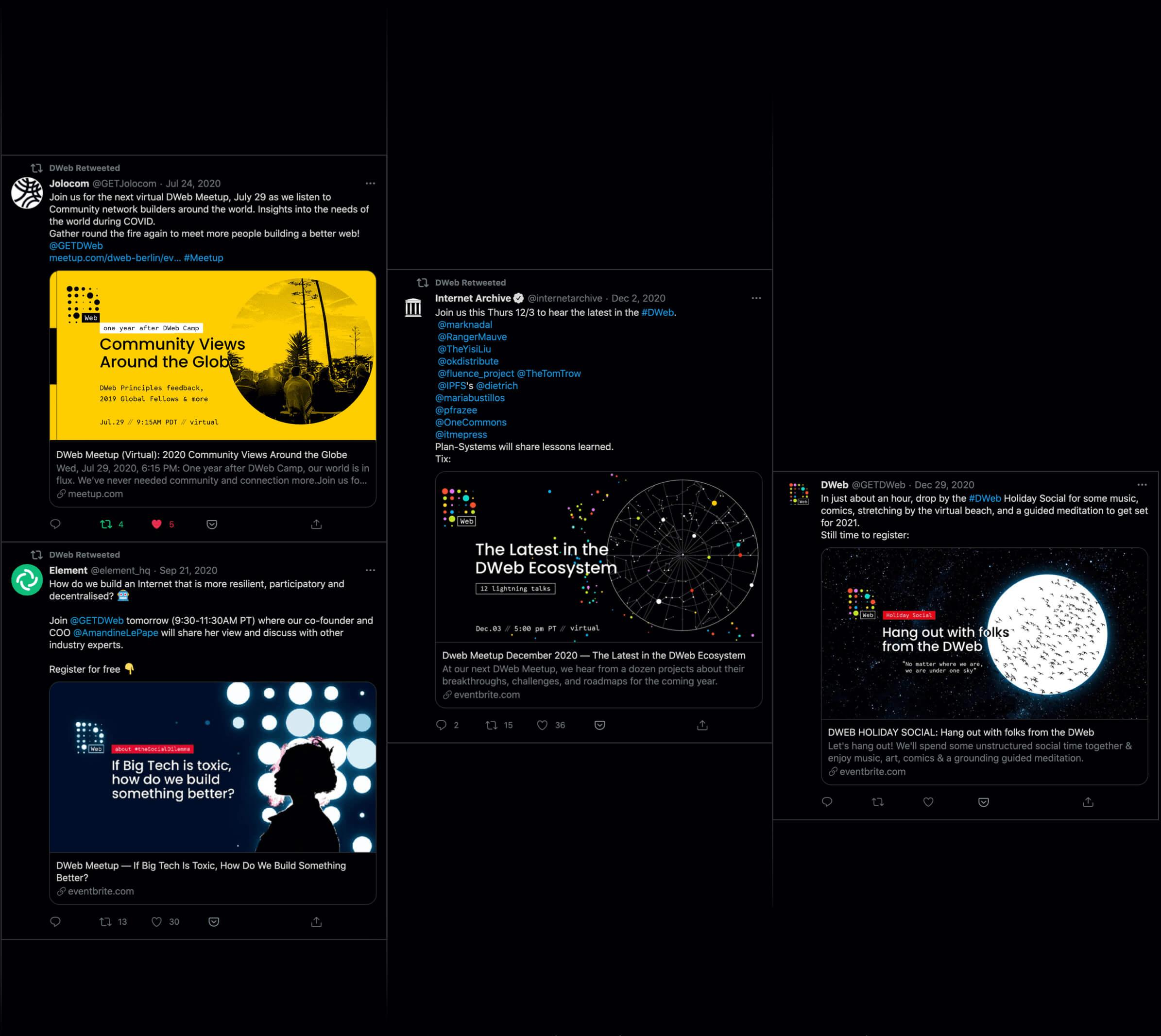DWeb tweets Nezhynska branding